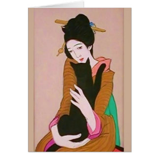 Japanese Geisha and Black Cat Greeting Card