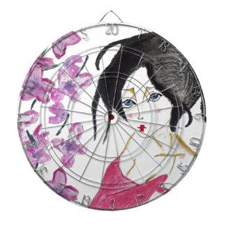 Japanese geisha animation drawing t-shirt gift dartboard