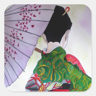 Japanese Geisha art with kimono and umbrella Square Sticker