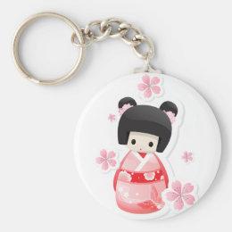 Japanese Geisha Doll - buns series Keychain
