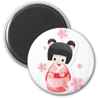 Japanese Geisha Doll - buns series 2 Inch Round Magnet