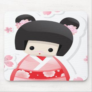 Japanese Geisha Doll - buns series Mouse Pad