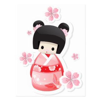 Japanese Geisha Doll - buns series Postcards