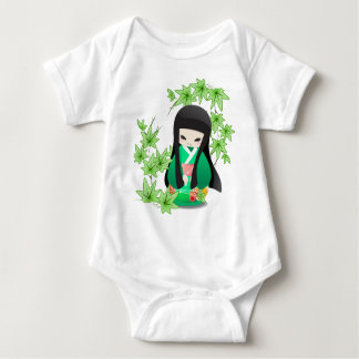 Japanese Geisha Doll - green series Baby Bodysuit