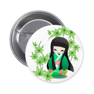 Japanese Geisha Doll - green series Buttons