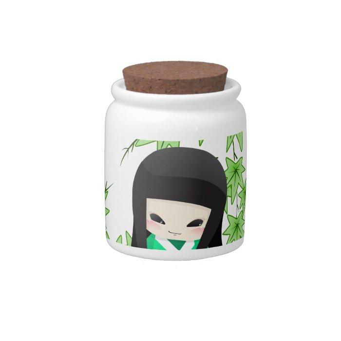 Japanese Geisha Doll - green series Candy Jars