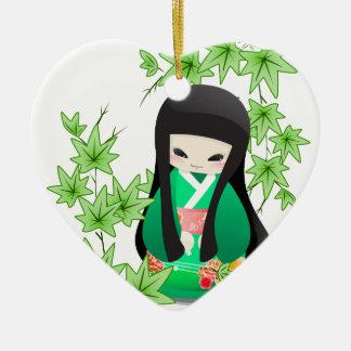 Japanese Geisha Doll - green series Ceramic Ornament