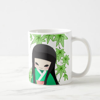 Japanese Geisha Doll - green series Coffee Mugs