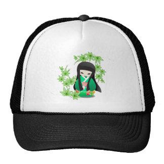 Japanese Geisha Doll - green series Hats
