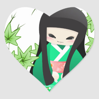 Japanese Geisha Doll - green series Heart Sticker