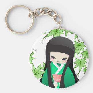 Japanese Geisha Doll - green series Key Chains