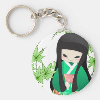 Japanese Geisha Doll - green series Keychain