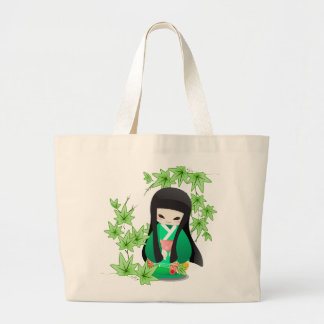 Japanese Geisha Doll - green series Large Tote Bag