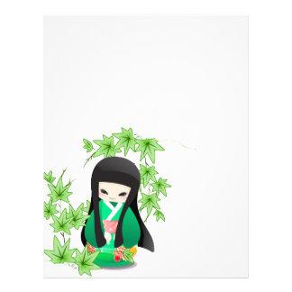 Japanese Geisha Doll - green series Letterhead