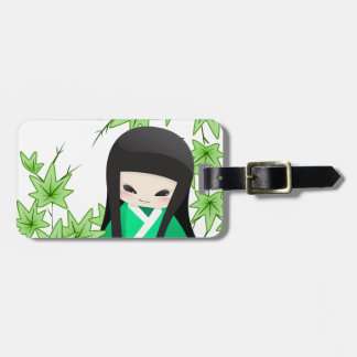 Japanese Geisha Doll - green series Tag For Luggage