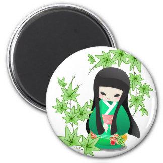 Japanese Geisha Doll - green series Magnets