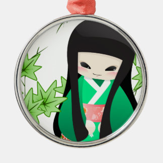 Japanese Geisha Doll - green series Metal Ornament