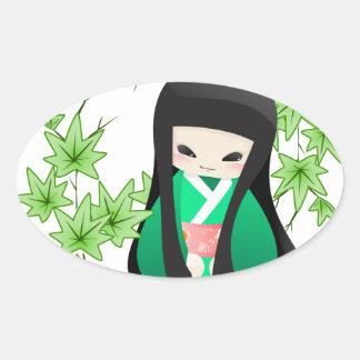 Japanese Geisha Doll - green series Oval Sticker