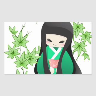 Japanese Geisha Doll - green series Rectangular Sticker