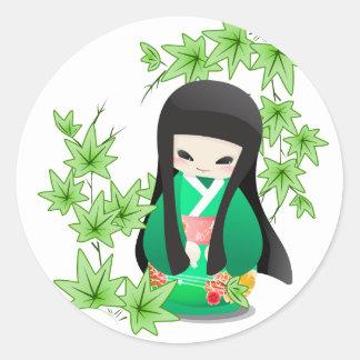 Japanese Geisha Doll - green series Round Stickers