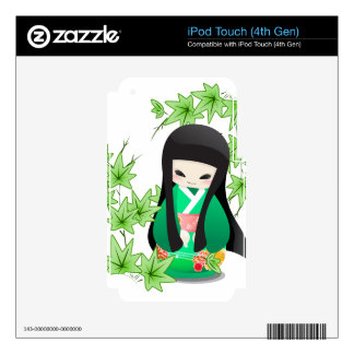 Japanese Geisha Doll - green series Skin For iPod Touch 4G
