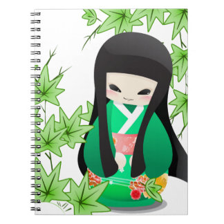 Japanese Geisha Doll - green series Spiral Notebook
