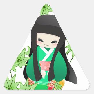 Japanese Geisha Doll - green series Triangle Sticker