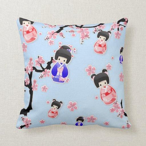 Japanese Geisha Dolls Throw Pillows