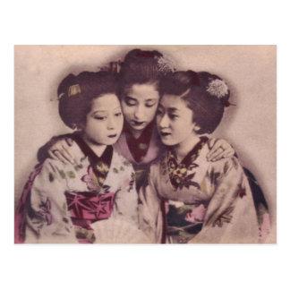 Japanese geisha girls, 1900 postcard