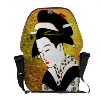 japanese geisha gold rickshaw bag black courier bag