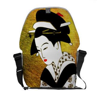 japanese geisha gold rickshaw bag messenger bag