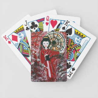 Japanese Geisha in a red dress Bicycle Playing Cards