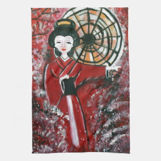 Japanese Geisha in a red dress Kitchen Towel
