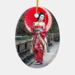 Japanese Geisha in Kyoto Ceramic Ornament