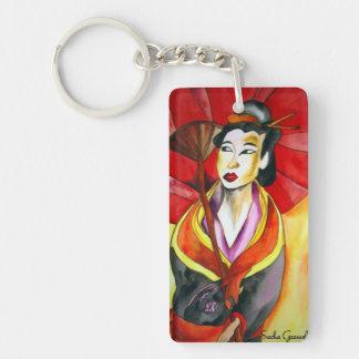 Japanese Geisha original watercolor art painting Single-Sided Rectangular Acrylic Key Ring
