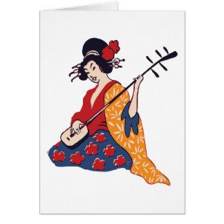 Japanese Geisha Playing a Shamisen Instrument Greeting Card