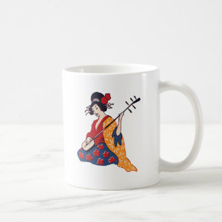Japanese Geisha Playing a Shamisen Instrument Classic White Coffee Mug