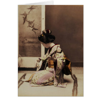 Japanese geisha playing the shamisen card