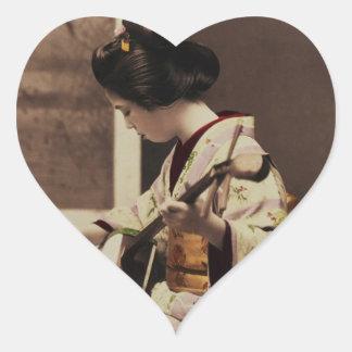 Japanese geisha playing the shamisen heart sticker