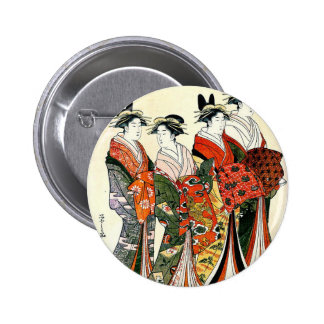 JAPANESE GEISHA VINTAGE ART BUTTON