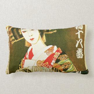Japanese Geisha & Wasaga Paper Umbrella Art Lumbar Pillow