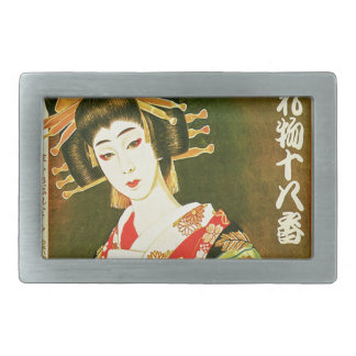 Japanese Geisha & Wasaga Paper Umbrella Art Rectangular Belt Buckle