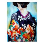 Japanese Geisha with blue kimono original art Post Card