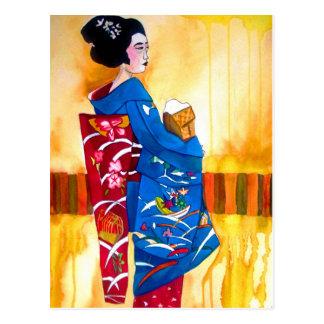 Japanese Geisha with blue kimono Postcard