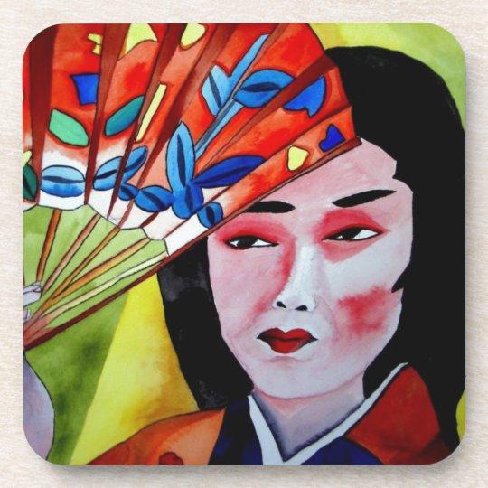 japanese Geisha with fan original art painting Drink Coaster