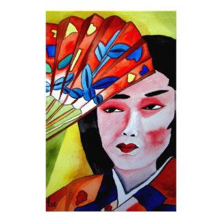 japanese Geisha with fan original art painting Stationery