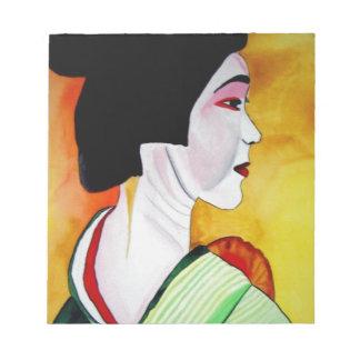 Japanese Geisha with green kimono original art Memo Note Pad