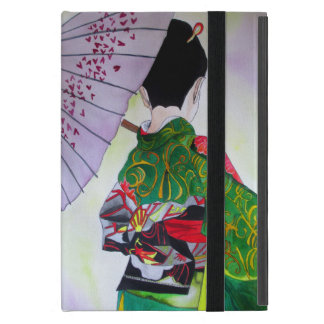 Japanese Geisha with kimono and purple umbrella Cover For iPad Mini
