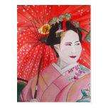Japanese Geisha with red umbrella original art Postcards