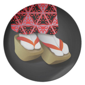 Japanese Geisha Wooden Shoes Plate